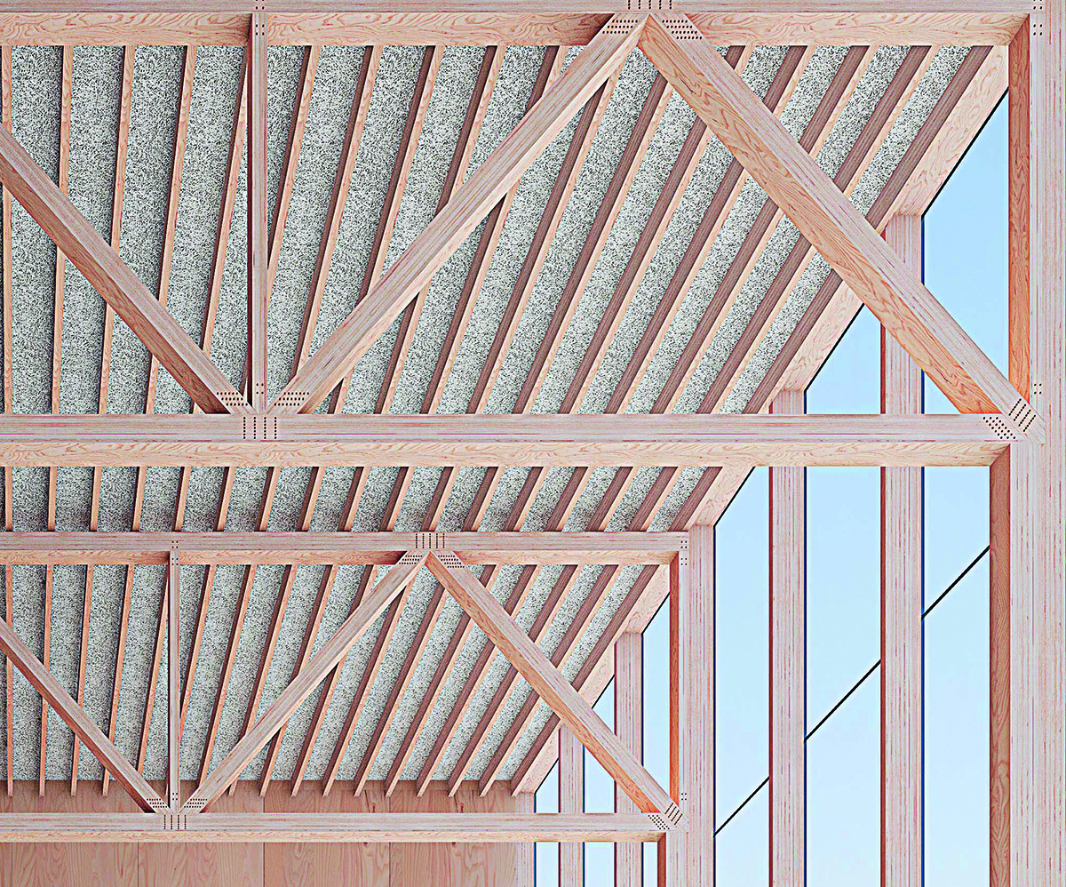 Supporting beams and ceiling beams made of beech plywood veneer are 1/3 smaller than those made of pinewood.